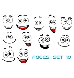 Happy emotions on cartoon faces vector image vector image
