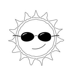 Happy sun fun icon black whtie vector