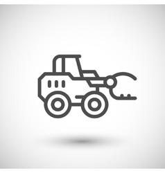 Hay loader tractor line icon vector