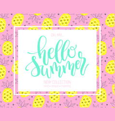 Hello summer hand lettering design element vector