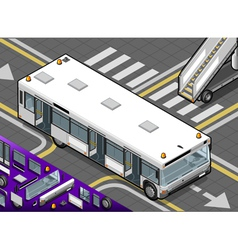 Isometric airport bus with open doors in front vector