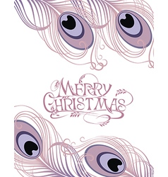 Merry christmas card with feathers vector