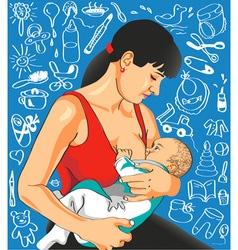 Mother feeds baby vector