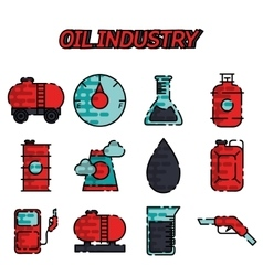 Oil industry flat icon set vector