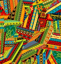 Patchwork pattern with ethnic motifs vector image