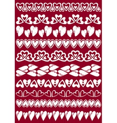 Set of Lace Paper with heart vector image vector image
