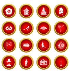 South korea icon red circle set vector