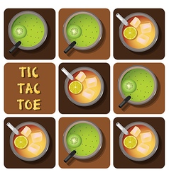 Tic-tac-toe of iced tea and kiwi juice vector