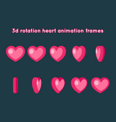 valentine day 3d heart rotation animation frames vector image
