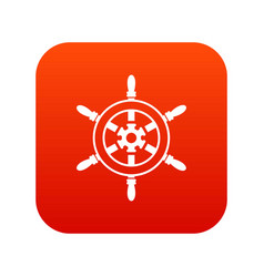 wheel of ship icon digital red vector image vector image