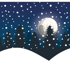 winter landscape night pines vector image
