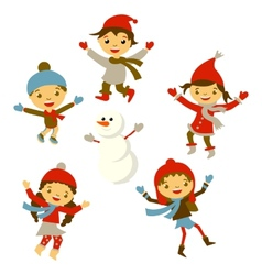Winter little girl snowman christmas boy snow vector