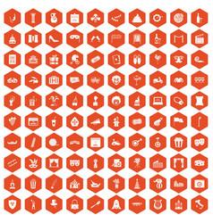 100 mask icons hexagon orange vector