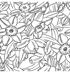 Seamless pattern with narcissus vector
