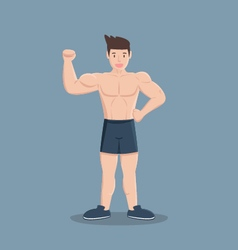 Gym fitness muscular cartoon man vector