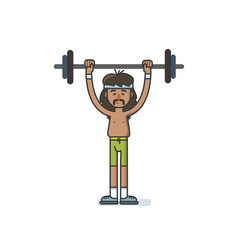 funny cartoon character sportsman with a barbell vector image