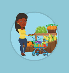 customer with shopping cart vector image