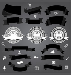 Collection of ribbons labels and shopping icons vector