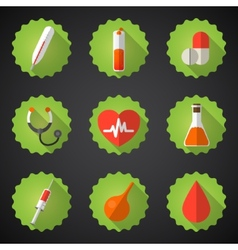 Medical flat icon set include heart blood drop vector
