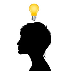 Woman silhouette with idea light bulb vector
