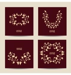 Set of cards with vintage design Floral vector image