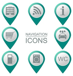 Navigation icons silhouette service industries vector