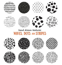 Big set of hand drawn textures for abstract design vector