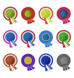 Set of blank award rosettes with ribbon vector