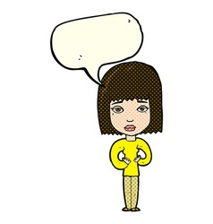 Cartoon woman indicating self with speech bubble vector