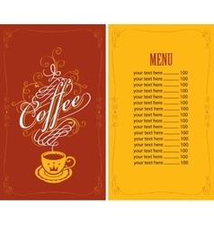 Menu for a cafe with a cup of coffee vector