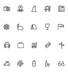 Tourism line icons 3 vector