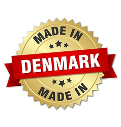 Made in denmark gold badge with red ribbon vector