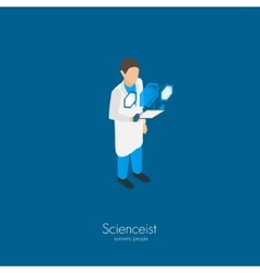 Scientist with tablet pc vector image