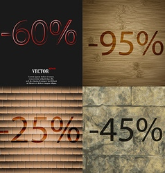 95 25 45 icon set of percent discount on abstract vector