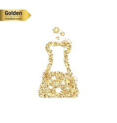 Gold glitter icon of beaker isolated on vector