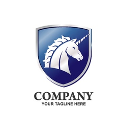Unicorn logo with shield vector