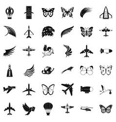 Aerospace icons set simle style vector