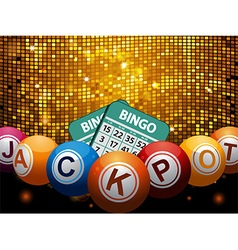 Bingo balls jackpot and cards over disco wall vector image