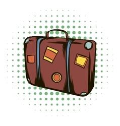 Brown travel suitcase comics icon vector image