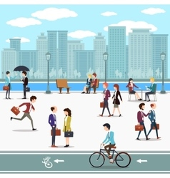 Business people walking on the street and skyline vector