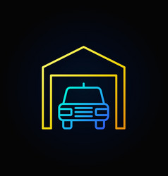 car in garage outline icon vector image