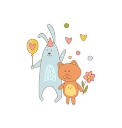 Cat and rabbit characters on birthday party vector