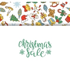 Christmas sale background with flat icons vector image