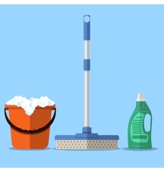 Cleaning set mop vector