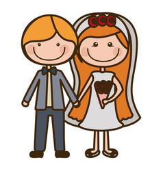 color silhouette cartoon couple in wedding suit vector image