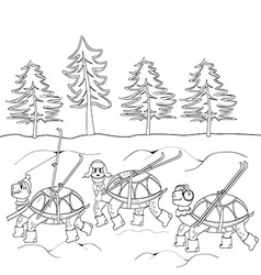 Contour black and white drawing turtles with skis vector image