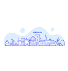 Copenhagen skyline denmark city buildings vector