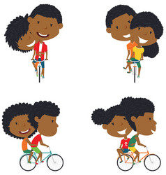 cute african-american couple on bikes vector image