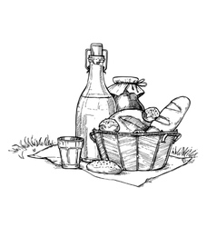 Farm food set freehand pencil drawing vector