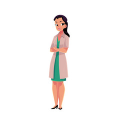 female woman doctor in medical coat standing with vector image vector image